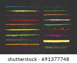 set of colorful wax crayon... | Shutterstock .eps vector #691377748