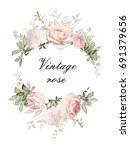 Stock photo vintage card watercolor wedding invitation design with pink roses bud leaves flower background 691379656