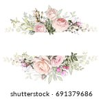 vintage card  watercolor... | Shutterstock . vector #691379686