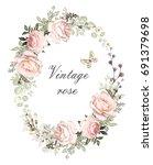 vintage card  watercolor... | Shutterstock . vector #691379698