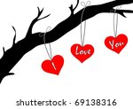 vector card with hearts and tree