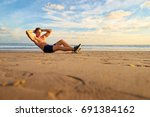 sports and healthy lifestyle.... | Shutterstock . vector #691384162