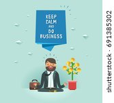 happy businessman in lotus pose ... | Shutterstock .eps vector #691385302