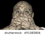 an eroded cracking man covering ... | Shutterstock . vector #691385806