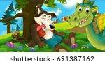 cartoon background of a dragon...   Shutterstock . vector #691387162