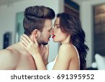 sexy naked couple kissing... | Shutterstock . vector #691395952