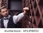 portrait of young handsome... | Shutterstock . vector #691398052