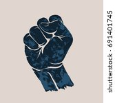 raised up clenched fist.... | Shutterstock .eps vector #691401745