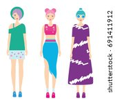 young modern girls with... | Shutterstock . vector #691411912
