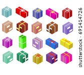 isometric boxes isolated on... | Shutterstock . vector #691414726