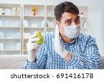 man suffering from allergy  ... | Shutterstock . vector #691416178
