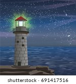 a burning lighthouse on the...   Shutterstock .eps vector #691417516
