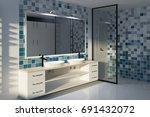 tiled blue bathroom interior... | Shutterstock . vector #691432072