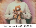Woman Holding Teddy Bear Toy O...