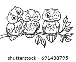 Stock vector three owls are sitting on a branch vector illustration outlined for coloring book 691438795