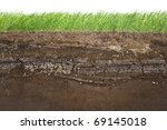 Cross section of green grass and underground soil layers beneath