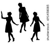 set silhouettes of a woman ...   Shutterstock .eps vector #691458085