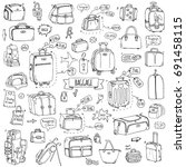 hand drawn doodle baggage icons ... | Shutterstock .eps vector #691458115