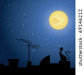 cat on rooftop  at night with a ... | Shutterstock .eps vector #69146212