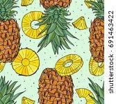 pineapple tropical vector...   Shutterstock .eps vector #691463422