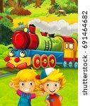 cartoon train scene with happy... | Shutterstock . vector #691464682