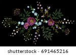 embroidery trend floral pattern ... | Shutterstock .eps vector #691465216