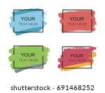 grunge set of black paint  ink... | Shutterstock .eps vector #691468252