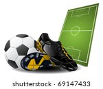 soccer boots and ball | Shutterstock .eps vector #69147433