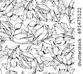 tropical seamless pattern with... | Shutterstock .eps vector #691475122