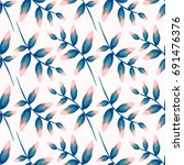 tropical seamless pattern ... | Shutterstock .eps vector #691476376