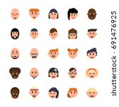 vector set of avatars... | Shutterstock .eps vector #691476925