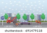 set of food delivery posters ... | Shutterstock . vector #691479118