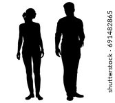 silhouettes of man and woman ... | Shutterstock .eps vector #691482865