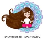 little girl with long hair... | Shutterstock .eps vector #691490392