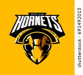 furious hornet head athletic... | Shutterstock .eps vector #691492015