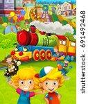 cartoon train scene with happy... | Shutterstock . vector #691492468