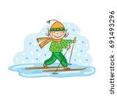 skier skiing  winter sport ... | Shutterstock .eps vector #691493296