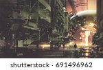 sci fi scenery of cyberpunk... | Shutterstock . vector #691496962