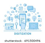 digitization vector concept... | Shutterstock .eps vector #691500496