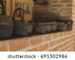 vintage   old iron and wood... | Shutterstock . vector #691502986