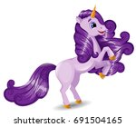 unicorn character in a rearing... | Shutterstock .eps vector #691504165