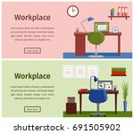 horizontal banners of business... | Shutterstock . vector #691505902