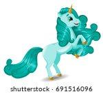 unicorn character standing on... | Shutterstock .eps vector #691516096