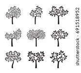 set black trees with leaves and ... | Shutterstock .eps vector #691518952