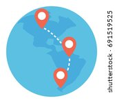travel pin location on a global ... | Shutterstock .eps vector #691519525