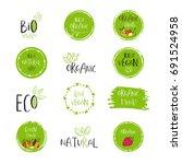 vector eco  bio green logo or... | Shutterstock .eps vector #691524958