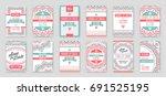 set of raster design awesome... | Shutterstock . vector #691525195