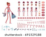 young slim woman in swimming... | Shutterstock .eps vector #691529188