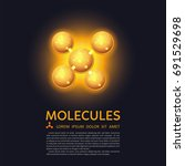 abstract gold molecules design. ... | Shutterstock .eps vector #691529698