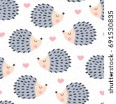 seamless cute hedgehog animal pattern vector illustration